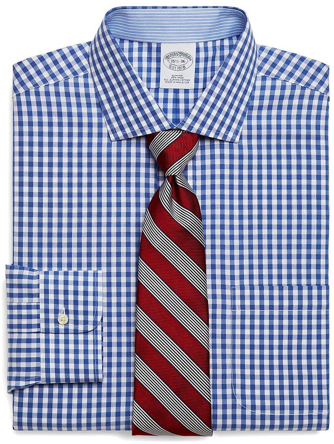 Brooks Brothers Supima® Cotton Non-Iron Slim Fit Gingham Dress Shirt