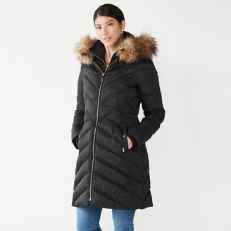 Nine West Women's Faux-Fur Hood Bib Chevron Puffer Coat