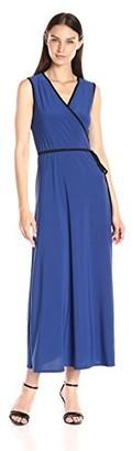 Star Vixen Women's Sleeveless Faux Wrap Maxi Dress with Contrast Piping
