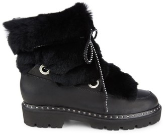 Montelliana 1965 Jolie Rabbit Fur-Trim & Shearling-Lined Leather Boots
