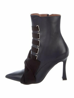Tabitha Simmons Leather Bow Accents Lace-Up Boots w/ Tags Blue