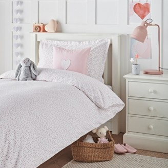 The White Company Scattered Heart Bed Linen Set, White/Pink, Cot Bed