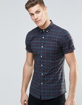 Asos Skinny Shirt In Navy Plaid Check With Short Sleeves
