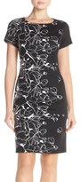 Ellen Tracy Floral Knit Sheath Dress (Regular & Petite)