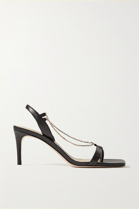 PORTE & PAIRE Chain-embellished Leather Slingback Sandals - Black