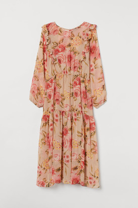 H&M H&M+ Long Ruffled Dress - Beige