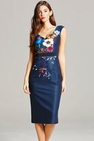 Little Mistress Navy Floral Print Wiggle Dress