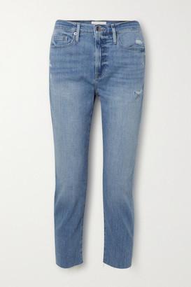 Frame Le Beau Cropped Distressed Boyfriend Jeans - Light denim