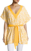 MICHAEL Michael Kors V-Neck Floral-Printed Cover-up, Yellow/Multi
