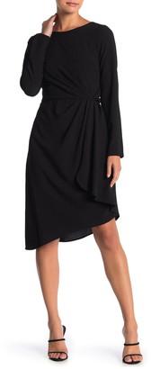 Julia Jordan Draped Front Long Sleeve Crepe Dress