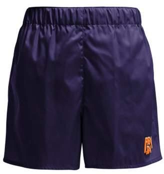 Prada Logo-patch Nylon Shorts - Womens - Blue