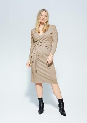 MANGO Violeta BY Bow wrapped dress medium brown - 10 - Plus sizes