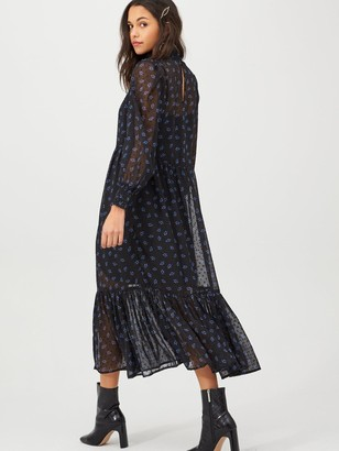 Very Floral Shirred High Neck Midi Dress - Black/Floral