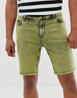 Asos Design DESIGN skinny denim short in green acid wash