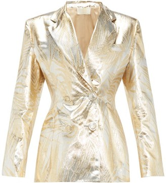 Sara Battaglia Palm-leaf Brocade Double-breasted Suit Jacket - Womens - Gold Multi