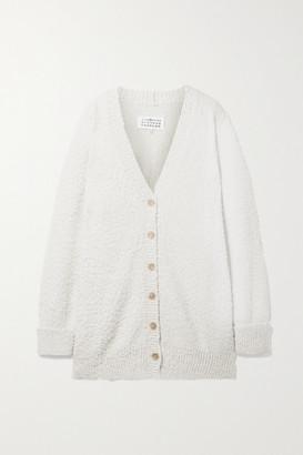 Maison Margiela Oversized Cotton-blend Boucle Cardigan - Cream