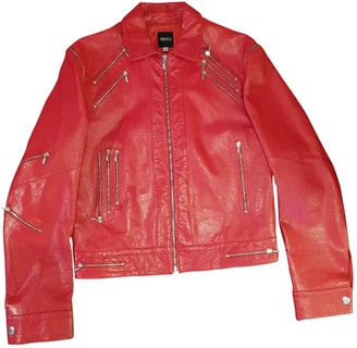 Versus Red Leather Leather Jacket for Women