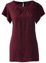 Lands' End Women's Short Sleeve Shirred Blouse-White
