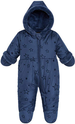 S. Rothschild Baby Girls Hooded Quilted-Star Footed Pram With Faux-Fur Trim