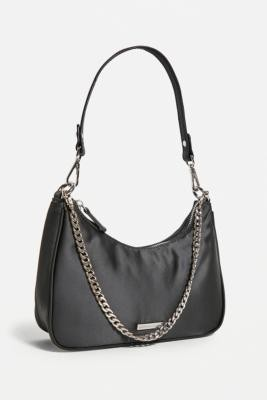 Urban Outfitters Satin & Chain Shoulder Bag - Black ALL at