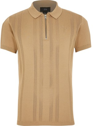 River Island Boys beige half zip knitted polo shirt