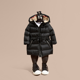 Burberry Down-filled Hooded Coat with Bow Detail