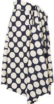Awake Draped Pleated Polka-dot Twill Skirt - Midnight blue