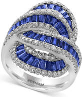 Effy Royale Bleu Sapphire (2-1/2 ct. t.w.) and Diamond (1-1/4 ct. t.w.) Statement Ring in 14k White Gold