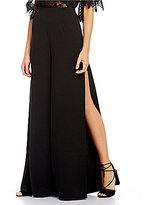 Lovers + Friends Calista Wide Leg Side Slit Crepe Trouser Pants