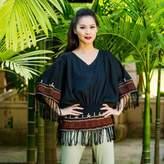 Cotton blouse, 'Black Thai Butterfly'