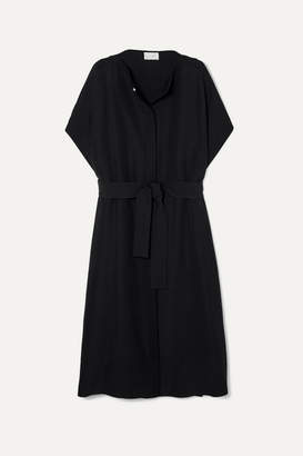 The Row Miriam Belted Wool And Silk-blend Coat - Black
