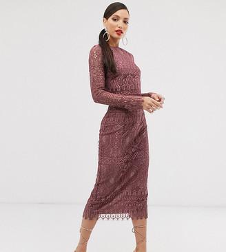 Asos DESIGN Tall lace long sleeve midi pencil dress