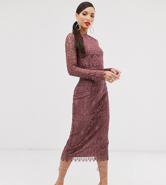 Asos Tall DESIGN Tall lace long sleeve midi pencil dress-Purple