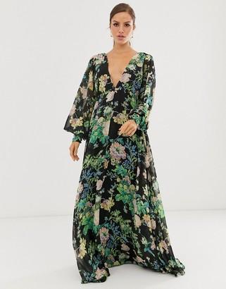 Asos Edition EDITION blouson sleeve maxi dress in floral print-Multi