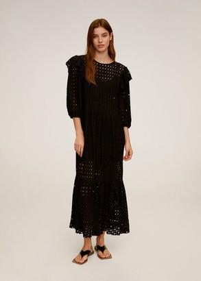 MANGO Ruflled open-work dress black - 4 - Women