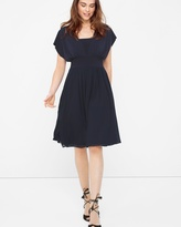 White House Black Market Genius Chiffon Convertible Navy Dress