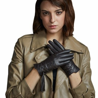 FIORETTO Women's Cashmere Lined Leather Gloves Black Brown Gray Thermal Touchscreen Leather Driving Gloves for Ladies Fleece Lined Winter Gloves with Luxury Tassels - Gift Box