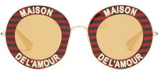 Gucci Maison De Lamour Striped Round Sunglasses - Womens - Red Gold