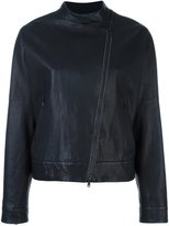 Brunello Cucinelli collarless asymmetric zip jacket