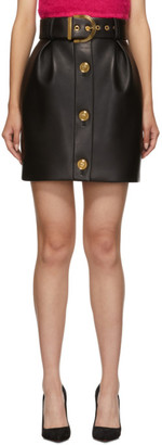 Versace Black Leather Medusa Button Miniskirt