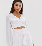 TFNC knot front long sleeve wrap co-ord crop top in white