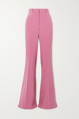 Michael Kors Collection Charlie Wool-blend Crepe Flared Pants - Pink