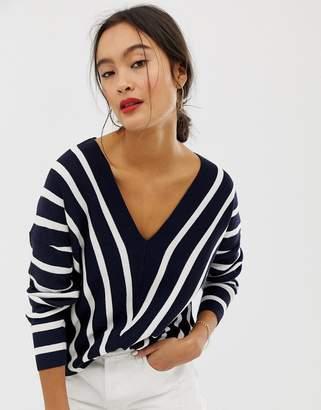 Only vertical stripe wide v neck jumper-Navy