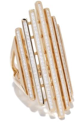 Loree Rodkin 18kt Yellow Gold Long Modern Striped Diamond Ring