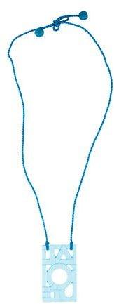 Lalique Logo Cutout Crystal Pendant Necklace