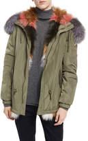 Moose Knuckles St. Fabien Reversible Anorak Jacket w/ Multicolor Fur