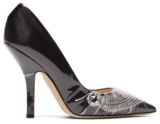 Midnight 00 Iconic Crystal-embellished Satin & Pvc Pumps - Black