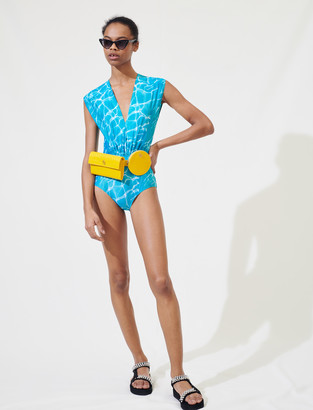 Maje Swimming pool print one-piece swimsuit