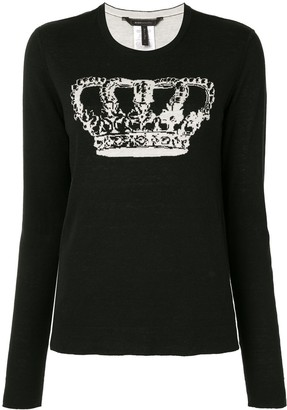 BCBGMAXAZRIA crown-print long-sleeve T-shirt