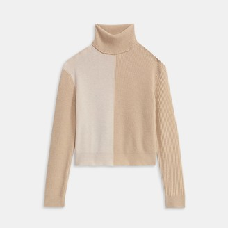 Theory Turtleneck Sweater in Color Block Cashmere